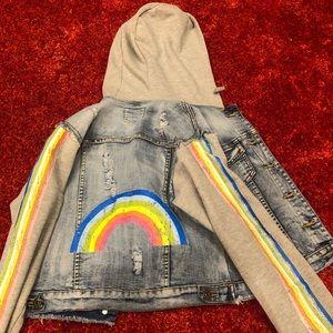 Girls XL denim jacket with rainbow art